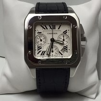 Cartier Santos 100 XL Chrono Stainless Steel Leather Strap