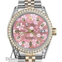 Rolex Ladies Rolex 36mm Datejust 2 Tone Pink Flower Mop Mother...