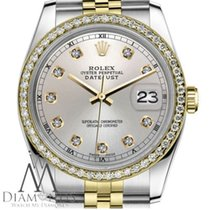 Rolex Classic Two-tone Rolex 26mm Datejust Silver Diamond Dial...