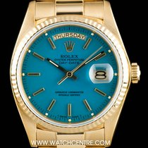 Rolex 18k Y/G Very Rare Turquoise Stella Dial Day-Date 18038