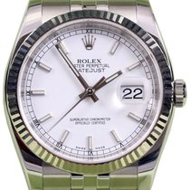 Rolex Datejust 36 116234-WHTSFJ White Index Fluted White Gold...