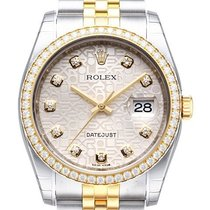 Rolex Datejust 36 Edelstahl Gelbgold Diamant 116243 Silber J DIA