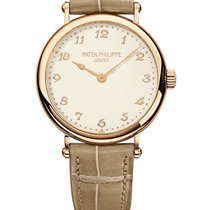 Patek Philippe Calatrava 35mm Rose Gold on Beige Leather Strap