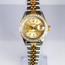 Rolex 69173 ladies  twotone champagne stick diamond bezel