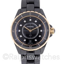 Chanel J12 Black Ceramic 18K Gold Diamond Dial Automatic 38mm...