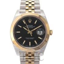 ロレックス (Rolex) Datejust 41 Black 18k yellow gold/Steel 41mm...