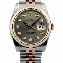 Rolex Datejust 36 Steel Dial Diamonds Fluted Jubilee SS/...