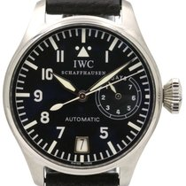 IWC Big Pilot IW5002-01 Black Arabic Stainless Steel Leather...