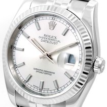 Rolex Rolex 36mm SS Datejust Silver Dial WG Fluted w/ Jubilee...