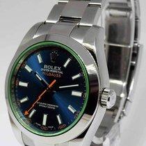 Rolex Milgauss Steel Blue Dial Green Crystal Watch 2014...
