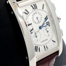 Cartier Tank Americaine Chronograph 18k White Gold On Brown...