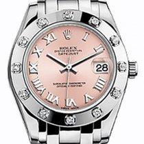 Rolex Pearlmaster 34 81319 Pink Roman White Gold Bezel Set...