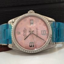 Rolex Datejust 36mm Fundo Rosa Floral Impecavel Completo