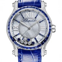 Chopard Happy Sport 18K White Gold, Blue Sapphires &...