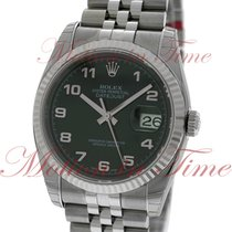 Rolex Datejust 36mm, Black Dial, White Gold Fluted Bezel -...
