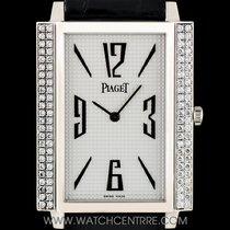 Piaget 18k White Gold Silver Pyramid Dial Diamond Set Gents...