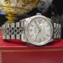 Rolex Oyster Perpetual Datejust Stainless Steel Silver Face...
