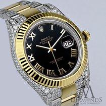 Rolex Datejust Ii Diamonds 41mm Two Tone Oyster Braslet Black...