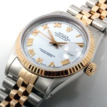 Rolex 36mm 18K/SS Datejust White Roman Dial w Jubilee - Quickset