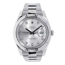 Rolex DATEJUST II 41mm 18K White Gold Bezel Silver Diamond Dial