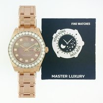 Rolex 81285 Pearlmaster Dark MOP Diamond Dial Diamond Bezel RG
