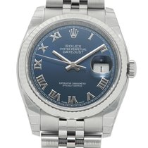 Rolex Datejust Steel 36mm 18k White Gold Fluted Bezel Blue...