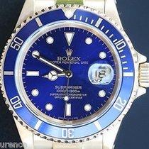 Rolex Mens Submariner Watch 18k Yellow Gold Blue On Blue 1997...