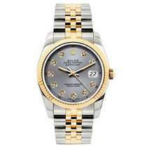 Rolex Datejust Ladies' 26mm Gray Dial Yellow Gold And...