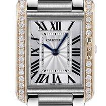 Cartier Tank Anglaise 18K Pink Gold Diamonds Bezel SS Women...