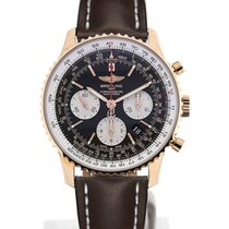 Breitling Navitimer 01 43 Gold Case Brown Leather Strap Buckle