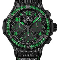 Hublot Big Bang Black Fluo Diamonds Green Tsavorites Snake...