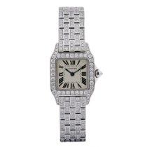 Cartier Santos Demoiselle Small 18KT White Gold Diamond Case...