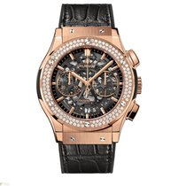 Hublot Classic Fusion Aero King Gold Diamonds Leather Men`s Watch