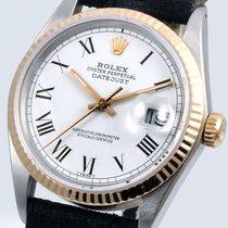 Rolex 36mm TT Datejust  Flat White Roman Dial Black Leather Strap
