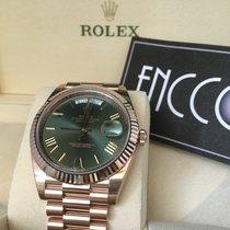 Rolex 228235 Day-Date 18ct Everose Gold 40mm Green Roman