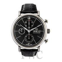 IWC Portofino Chronograph Black Steel/Leather 42mm - IW391008