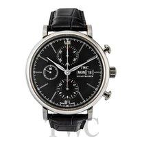 IWC Portofino Chronograph Black Steel/Leather 42mm - IW391008