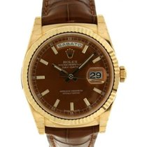 Rolex Day Date 118138 In Yellow Gold And Leather, 36mm