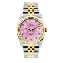 Rolex Datejust Men's 36mm Pink Floral Dial Gold And...