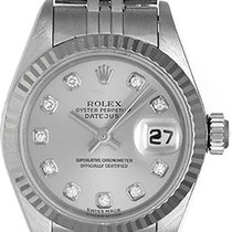 Rolex Ladies Datejust Stainless Steel Watch with Diamond Dial...