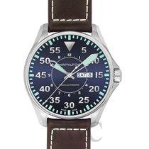 Hamilton Khaki Aviation Pilot Auto Blue Steel/Leather 46mm -...