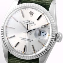 Rolex SS 36mm Datejust Olive NATO 18k White Gold Bezel  -...