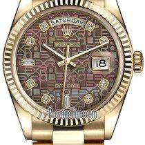Rolex Day-Date 36mm Yellow Gold Fluted Bezel 118238 Black MOP...