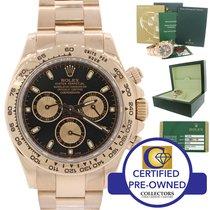 Rolex Daytona Rose Gold 18k 116505 Black Engraved Chrono Watch