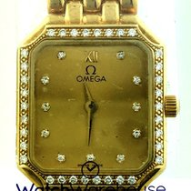 Omega DeVille 20MM 18KY Gold Diamonds Quartz Women's Watch...