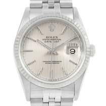 Rolex Datejust Silver Tapestry Dial Steel White Gold Mens...