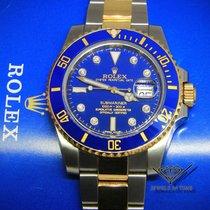 Rolex Submariner 18k Gold/Steel Blue Ceramic Diamond Watch...
