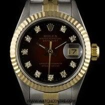 Rolex Steel & Gold O/P Maroon Diamond Dial Datejust Ladies...