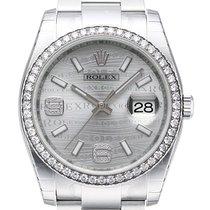 Rolex Datejust 36 Edelstahl Weißgold Diamant Lünette 116244 Rhod.