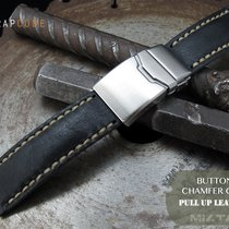 MiLTAT 20mm Pull Up Italian Leather Black Watch Strap, B